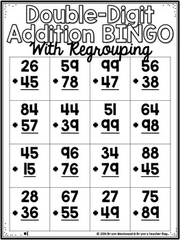Double-Digit Addition Bingo With Regrouping