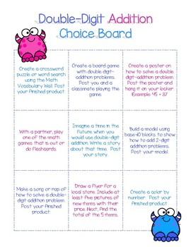 Double-Digit Addition Choice Board