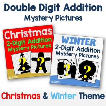 Christmas, Winter Two Digit Addition Color By Number Code