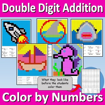 Double Digit Addition - Color by Numbers (5 Pack)