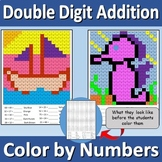 Double Digit Addition - Color by Numbers - Seahorse and Sailboat
