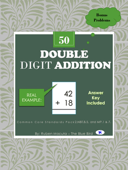Double Digit Addition Common Core Standards Pack 2.NBT.B.5, and MP.1 & 7.
