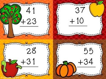 Double Digit Addition Fall Task Cards {Without carrying}