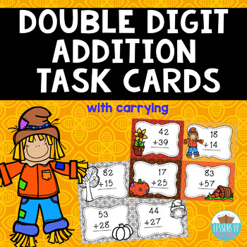 Double Digit Addition Fall Task Cards {with carrying}