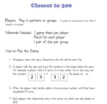 Double Digit Addition Game:  Closer to 300