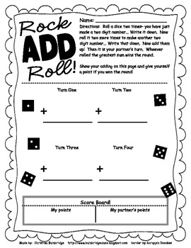 math worksheet : double digit addition games tic tac toe and a dice game freebies! : 3 Digit Addition Games
