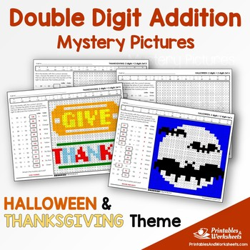Double Digit Addition - Halloween, Thanksgiving