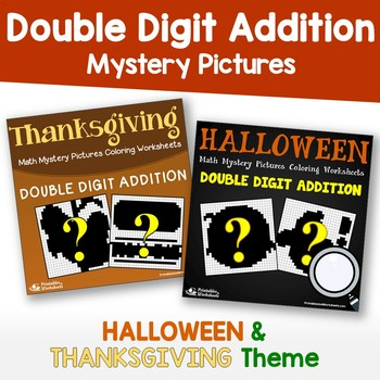 Halloween, Thanksgiving Two Digit Addition Color By Number Code