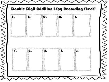 Double Digit Addition I-Spy Spring Version