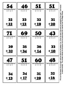 Double Digit Addition - Magic House 36 Cards - Self Checking Math Activity