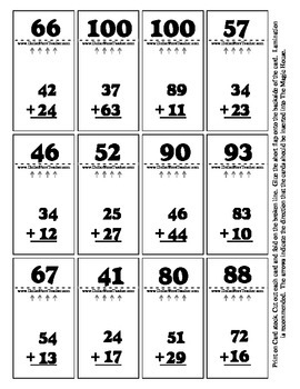 Double Digit Addition - Magic House 36 Cards - Self Checki