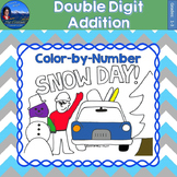 Double Digit Addition Math Practice Snow Day Color by Number