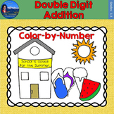 Double Digit Addition Math Practice End of Year Color by Number