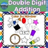 Double Digit Addition Math Practice | New Years Color by Number