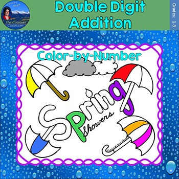 Double Digit Addition Math Practice Spring Showers Color b
