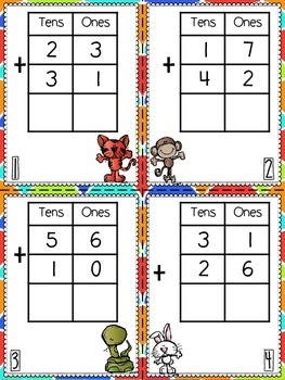 Double Digit Addition Mats and Task Cards
