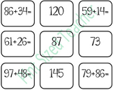 Double Digit Addition Memory Game