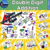Double Digit Addition Monthly Color by Number Bundle