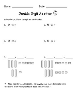 Double Digit Addition - No Regrouping