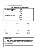 Double Digit Addition (No regrouping/carrying) Worksheet with example
