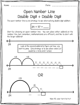 Double Digit Addition Open Number Line