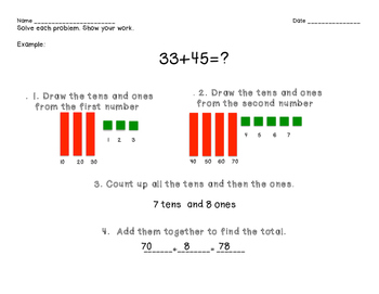 Double Digit Addition Packet with Scaffolds