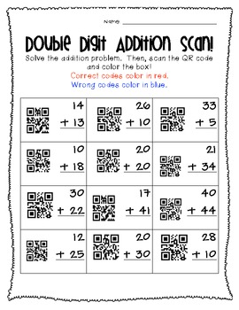 Double Digit Addition QR Code Freebie