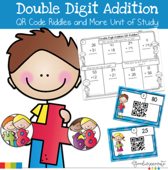Double Digit Addition-QR code Fun Riddles and More