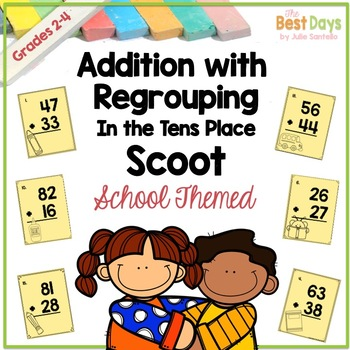 Double Digit Addition Scoot: School Themed!