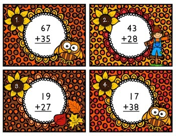 Addition Scoot Two-Digit Numbers with Regrouping Fall