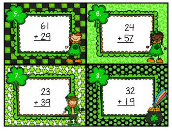 Double Digit Addition Scoot with Regrouping St. Patrick's Day