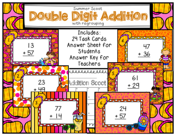 Double Digit Addition Scoot with Regrouping Summer
