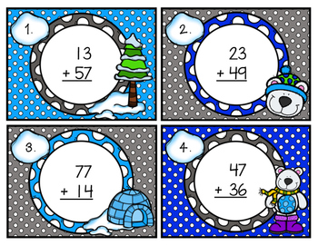 Double-Digit Addition Scoot with Regrouping Winter