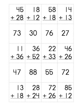 Double Digit Addition Sort - Matching
