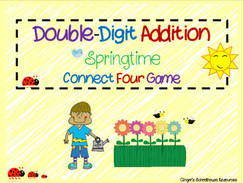 Double Digit Addition Springtime Connect Four Game