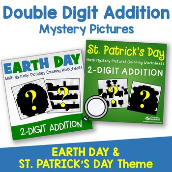 Double Digit Addition - St. Patrick's Day, Earth Day
