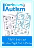 Double Digit Addition Subtraction Cut Paste Autism Special Education