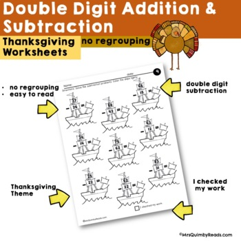 Double Digit Addition & Subtraction | No Regrouping | Practice  | Thanksgiving