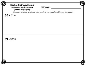 Double Digit Addition & Subtraction Pages (No Regrouping)