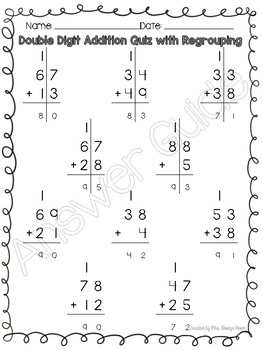 Double Digit Addition & Subtraction Quizzes WITH & WITHOUT Regrouping/Borrowing