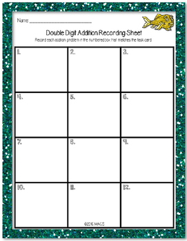 Double Digit Addition Task Cards