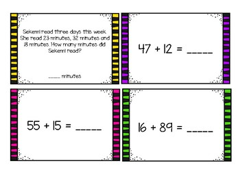 Double-Digit Addition Task Cards (2nd Grade GoMath Ch. 4 Test Review)