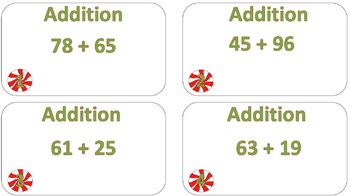 Double Digit Addition Task Cards Christmas Theme