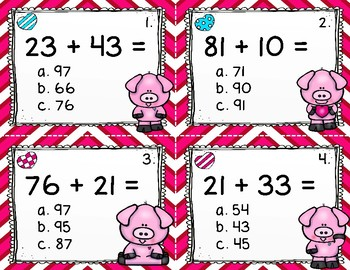 Two Digit Addition Task Cards-Numbers to 99 {40 Task Cards}