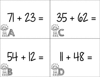 Double Digit Addition Task Cards Scoot No Regrouping