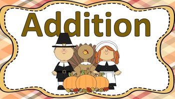 Double Digit Addition Task Cards Thanksgiving Theme