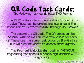 Double Digit Addition Task Cards WITH QR codes.
