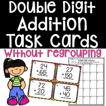 Double Digit Addition Task Cards Without Regrouping Math Center