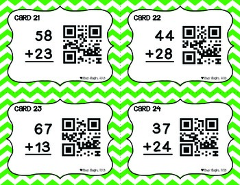 Double-Digit Addition Task Cards with Regrouping & QR Codes