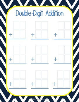 Double-Digit Addition Templates FREEBIE